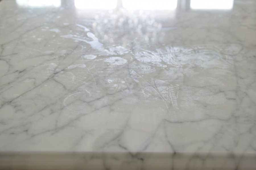 Marble countertops will etch if unsealed