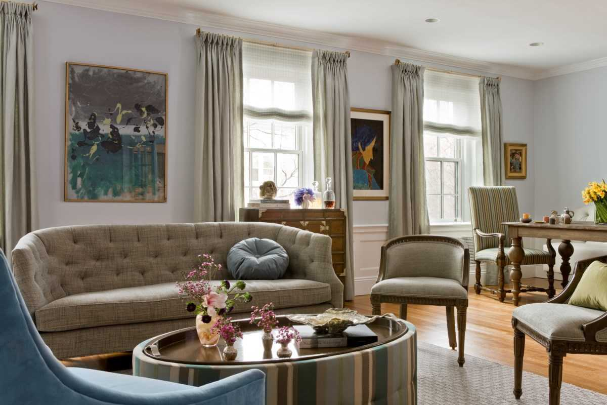 Platemark Interior Design Brookline Living Room Sofa