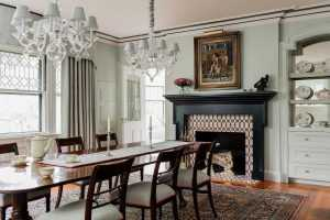 Platemark Interior Design Brookline Walnut Dining Room Mantel