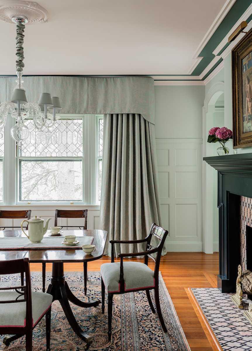 Platemark Interior Design Brookline Walnut Dining Room Window 2