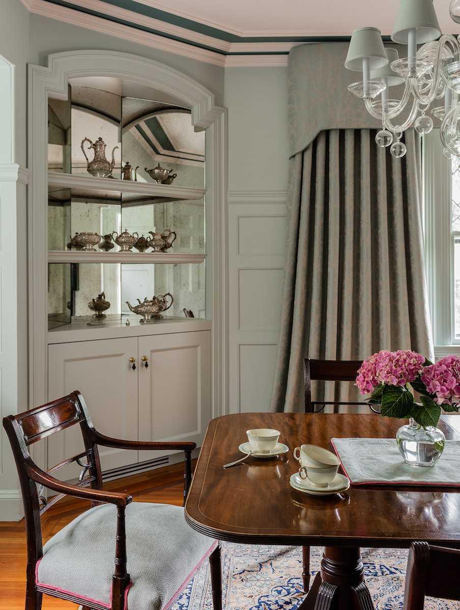 Platemark Interior Design Brookline Walnut Dining Room Window